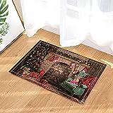 HiSoho Christmas Bath Rugs There Were Socks Hanging On The Fireplace Non-Slip Doormat Floor Entryways Indoor Front Door Mat Kids Bath Mat 15.7x23.6in Bathroom Accessories