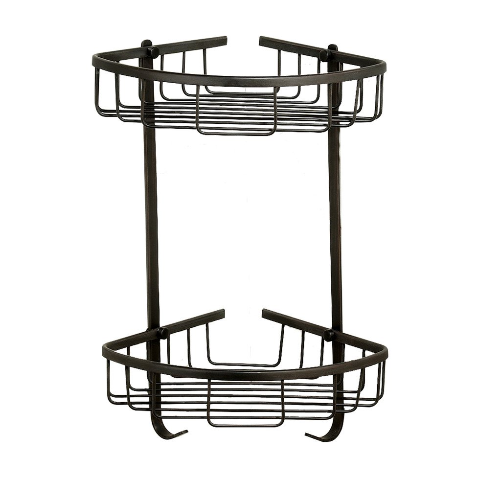 Shower Organizer Corner Basket by MAMOLUX ACC|Wall Mount Bath Storage Caddy with 2 Shelves and 2 Hooks|Brass Bathroom Shelf Rack with Oil Rubbed Bronze Finish|Space Saving Toiletries/Cosmetics Holder