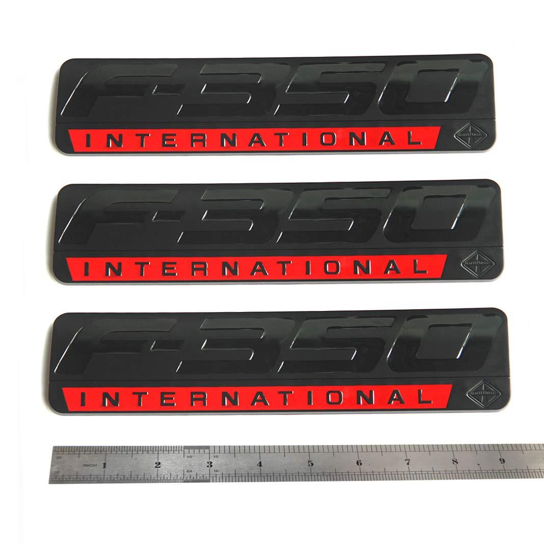 3x OEM Black Red F-350 International Side Fender Emblems Badge 3D logo Replacement for F350 Pickup Sanucaraofo