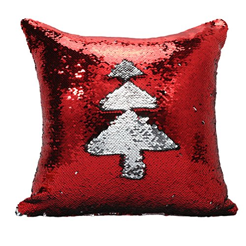 Freestyle Reversible Color Change Sequin Throw Pillow Cases Covers in Two-Tone, Red and Silver, 16x16, Creative Decorations on Sofas/ Armchairs/ Beds/ Floors/ Cars (Mid Century Modern Halloween Decorations)