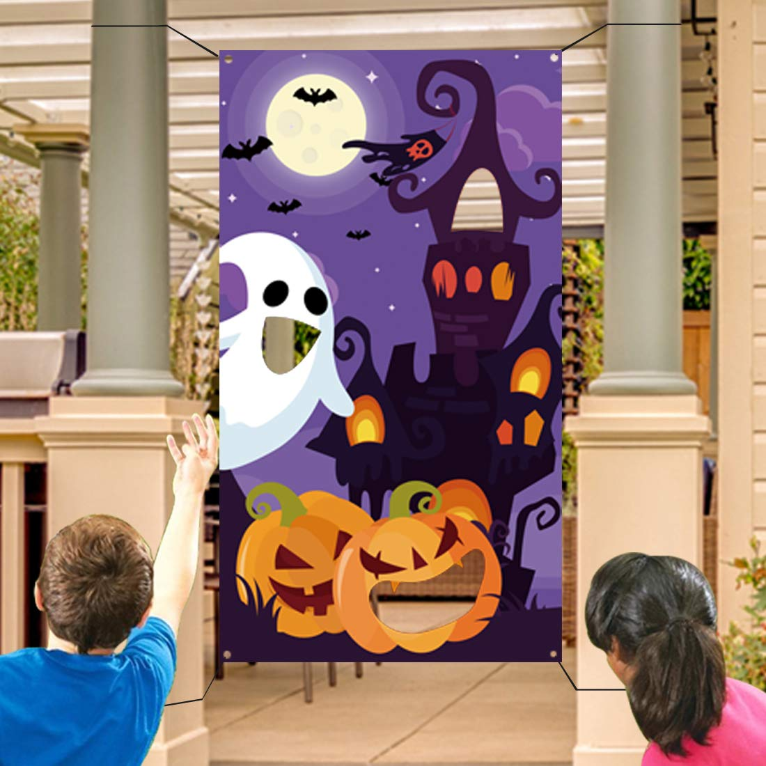 Halloween Bean Bag Toss Games+3 Bean Bags for Kids/Childrens/Family Party, Halloween Night Theme Indoor/Outdoor Parties Supplies Decoration Pumpkin Castle Ghost Bat Moon Toss Game Banner for Teens