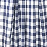 lovemyfabric Gingham/Checkered 100% Polyester Curtain Window Treatment/Decor Panel-Navy Blue and White (2, 56