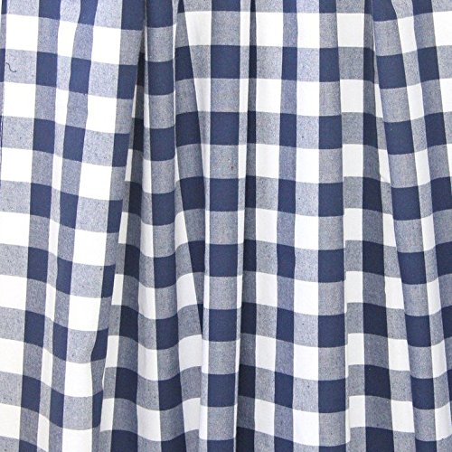 lovemyfabric Gingham/Checkered 100% Polyester Curtain Window Treatment/Decor Panel-Navy Blue and White (2, 56''X96'')
