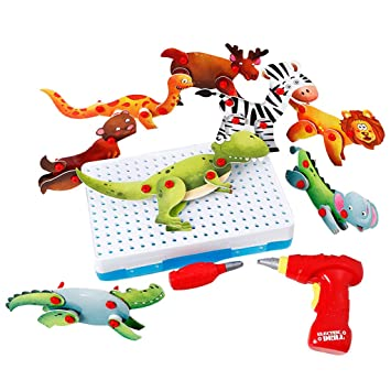 Animals Screw Toy Kids Drill Set Educational Toys Construction Tool Kit Gifts for Building House DIY , Educational Early Learning Good for Creativity and Intellectual Development