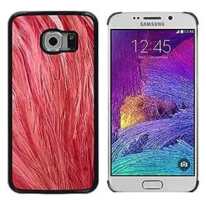 KOKO CASE / Samsung Galaxy S6 EDGE SM-G925 / plumas rosadas arte naturaleza animal pájaro suave / Delgado Negro Plástico caso cubierta Shell Armor Funda Case Cover