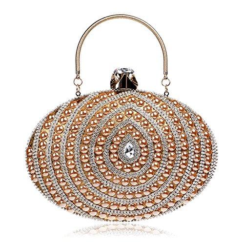 Blue Wild Nightclub color Xs Gold Lady Beautiful Clutch Fashion Evening Party Size Women's Oval Bag wTxPqYUT