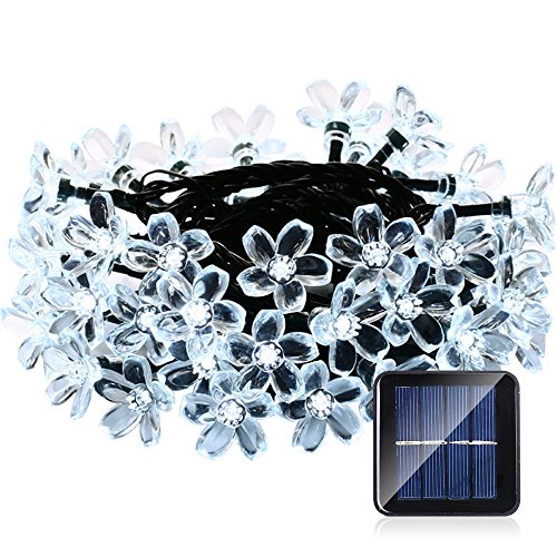 Qedertek Solar Christmas String Lights, 21ft 50 LED Fairy Blossom Lights for Outdoor, Home, Lawn, Garden, Patio, Party and Holiday Decorations (Cool White)