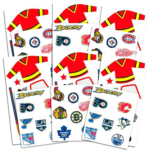 Hockey Stickers Party Supplies Pack -- 12 Hockey Sticker Packs for Kids Adults (Hockey Party -