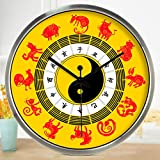 Znzbzt Simple Creative Mute Wall Clock Traditional Chinese Foot spa and Massage parlors in The Hospital Ward 医 feng Shui Decorative Wall Clock Mute Watches, 16 inch, Zodi