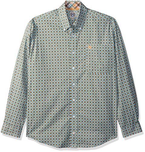 Cinch Men's Classic Fit Long Sleeve Button One Open Pocket Print Shirt, Teal/Orange, XL by Cinch