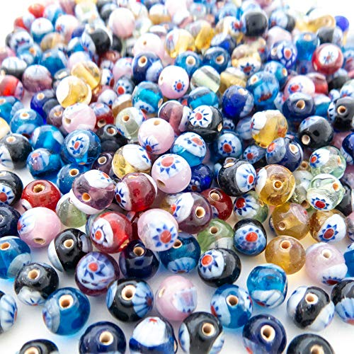 (Over 240 Millefiori Glass Beads for Jewelry Making Supplies for Adults - 6-7 mm Premium Assorted Mix of Round Flower Mosaic Beads for Bracelet and Necklace Crafting Supplies Kit w/Organizer)