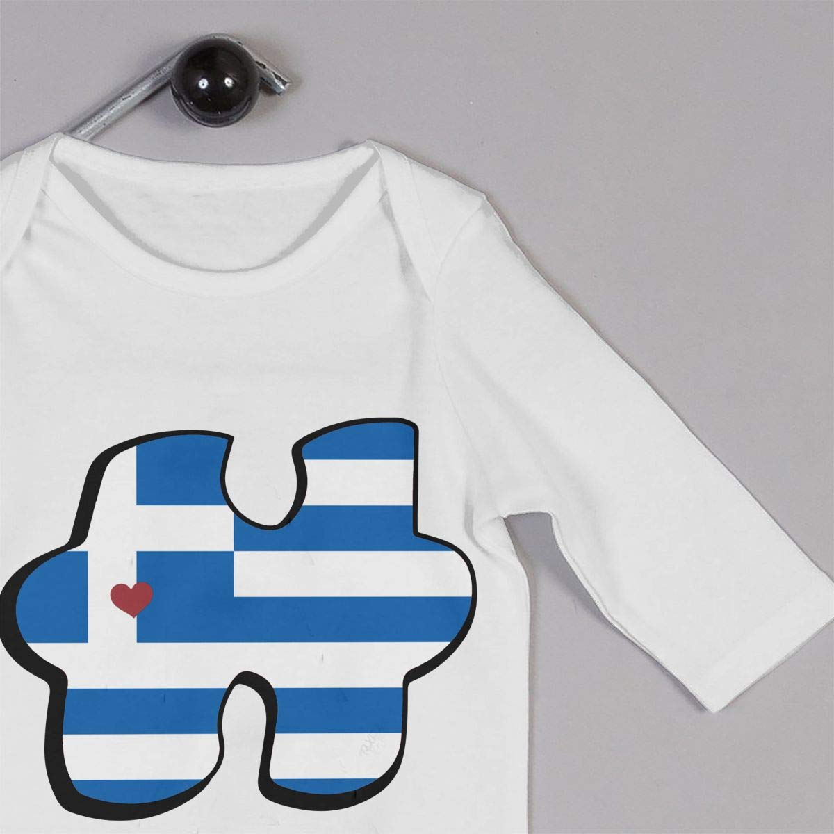 Mri-le1 Baby Boy Jumpsuit Autism Awareness Greece Greek Flag Puzzle Baby Rompers