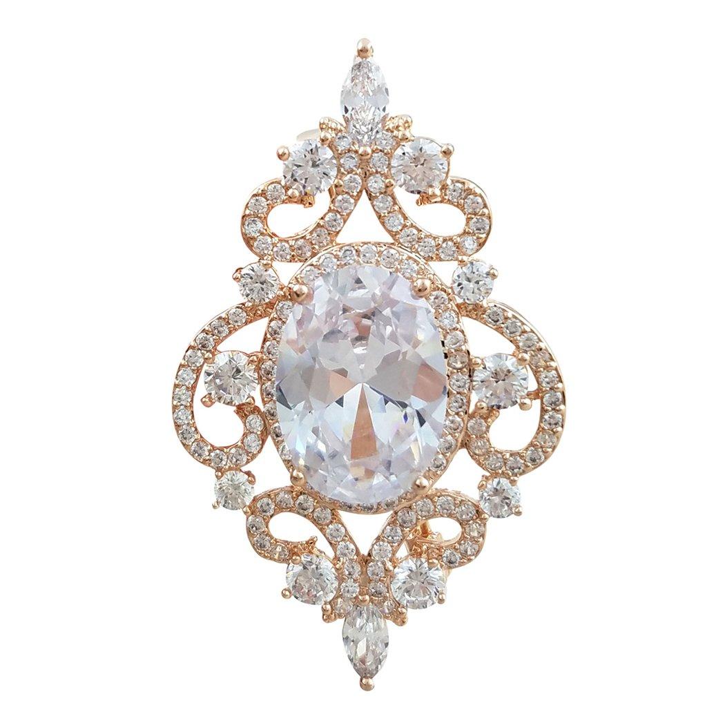 SELOVO Vintage Style Wedding White Oval Zircon Crystal Wedding Pin Brooch Rose Gold Tone