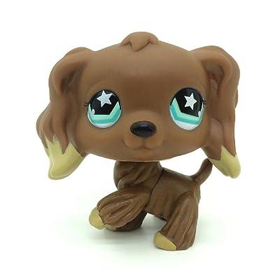 KK toy store New #960 Littlest Pet Shop Rare Chocolate Brown Cocker Spaniel Dog Star Eyes LPS: Toys & Games