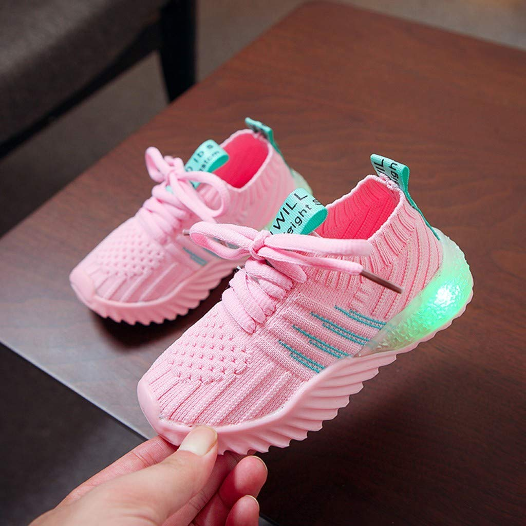 Kids LED Light Up Shoes Candy Color Lightweight Breathable Easy Walk Knit Sneakers 1-6Y Comfort Flashing Sneakers as Gift