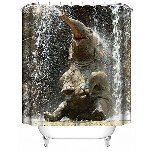 QEES Animal Shower Curtain Happy Elephant Pet Art Print Decor Waterproof Anti Mildew Fabric Polyester Bath Curtain Sets with Free Hooks 72 72(YLB02)