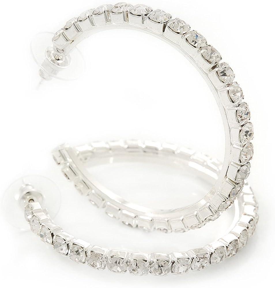 Pendientes de aro medio clásico de cristal de Swarovski en rodio chapado - 4,5 cm de diámetro