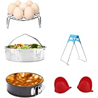 Pressure Cooker Accessories Set with Steamer Basket/Egg Steamer Rack/Non-Stick Springform Pan/Steaming Stand/1 Pair Silicone Cooking Pot Mitts 5 Pieces-Fits 5,6,8Qt Instant Pot Pressure Cooker