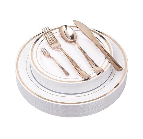 125Pieces Premium Quality Heavyweight Tableware/Elegant Plastic Disposable dinnerware 25 Dinner Plates 25  sc 1 st  Amazon.com & Amazon.com: 125Pieces Premium Quality Heavyweight Tableware/Elegant ...