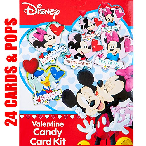 Valentines Day Classroom Exchange Gift | Disney Mickey Minnie Mouse & Donald Duck 24 Cards & 24 Lollipops Flavored Candies | Kids DIY DayCare Sunday School Homeschool Art Projects Parties Activities -