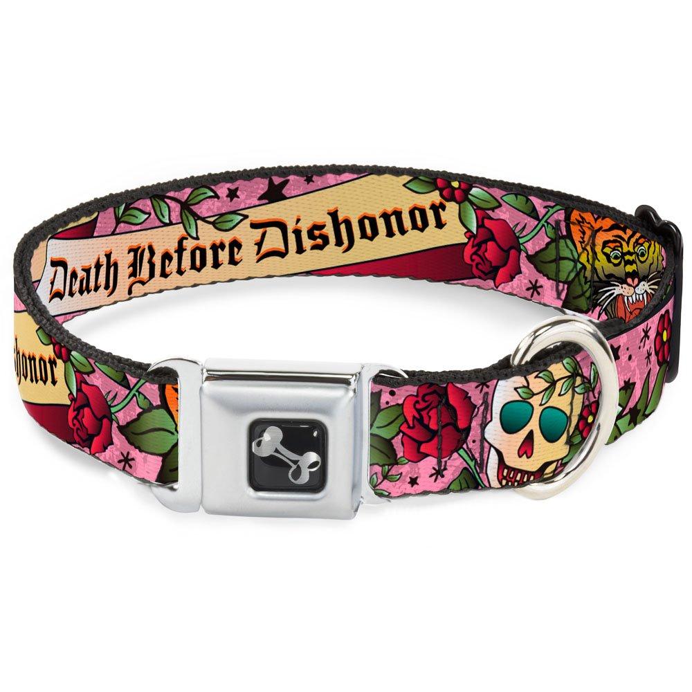 Buckle-Down Death Before Dishonor Pink Dog Collar Bone, Medium 11-17