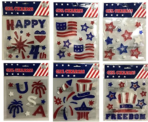 Patriotic Happy 4th of July Theme Assorted Gel Window Clings. Bundle of 6 Packages