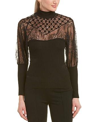 09f1f3edbbc Pinko Womens Lace Top, 44, Black at Amazon Women's Clothing store: