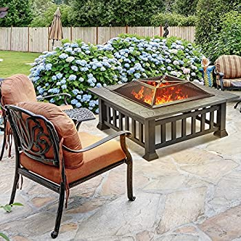 Sorbus Fire Pit Square Table With Screen Cover, Log Grate, Poker Tool, Great Bbq Grill For Outdoor Patio, Backyard, Garden, Camping, Picnic, Bonfire, Attractive Stone Slate (Fire Pit Square Table) 1