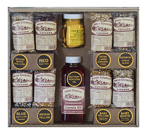 Amish Country Popcorn Variety Gift Set - 16 Oz Canola Oil, 4.5 Oz Butter Salt, and Recipe Guide - 8 Popcorns (Baby White, Red, Blue, Medium White, Baby Yellow, Rainbow, XL Caramel, Medium Yellow) ()