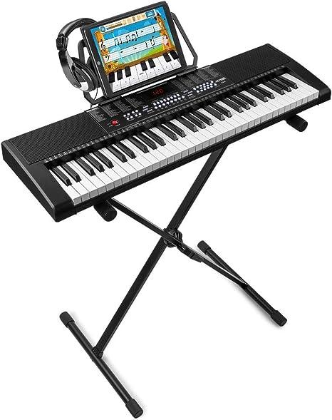 MAX KB4 Teclado Electrónico piano de 61 teclas + soporte de suelo + auricular