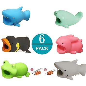 Newseego Protector de Cable Cargador de Ahorro Chewers de Cable Cute Animal Bite Protecciones para Cables - Paquete de 6 (Tiburón, Manatí, Pingüino ...