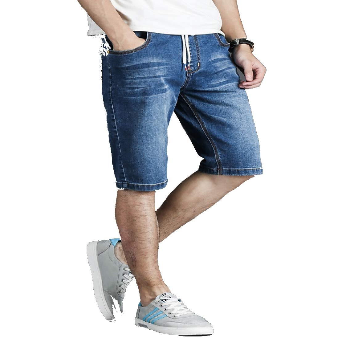 DressU Mens Plus Size Relaxed-Fit Washed Distressed with Pocket Jean Trousers