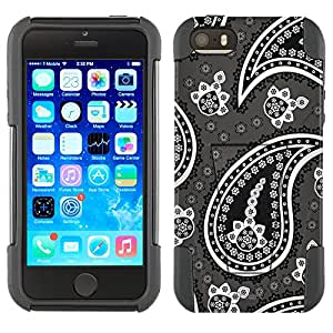 Apple iPhone 5 Hybrid Case Fun Paisley Black on Grey 2 Piece Style Silicone Case Cover with Stand for Apple iPhone 5 and 5S