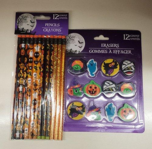 Halloween Pencils and Mini Eraser Set