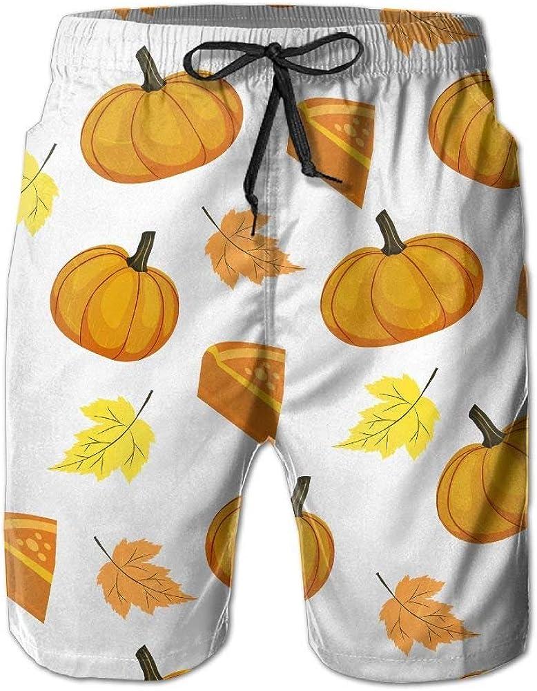 Pumpkin Maple Leaf Mens Beach Shorts Loose Summer Swim Trunks Surf Board Shorts Beach Pants with Pockets for Men