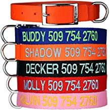 Custom Embroidered - Tough Nylon Dog Collar with Stainless Steel Metal Buckle. Personalized with Pet Name and Phone Number.