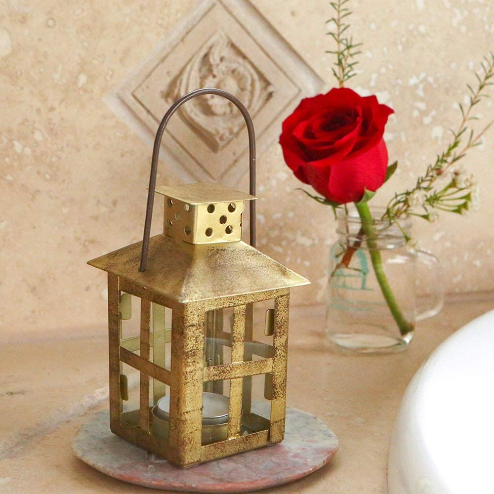 Kate Aspen Vintage Antique Gold Distressed Small Lantern Candle Holder, 0