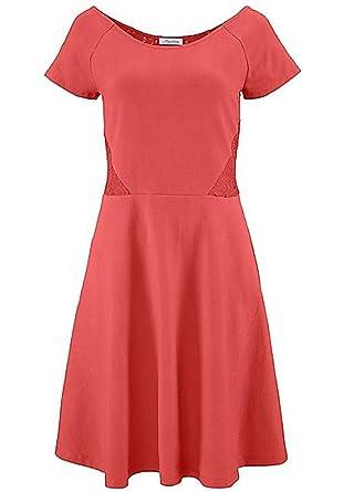 811e039d05f Damen Kleid in Gr 38 S Orange Spitze Knielang Sommerkleid  Amazon.de ...