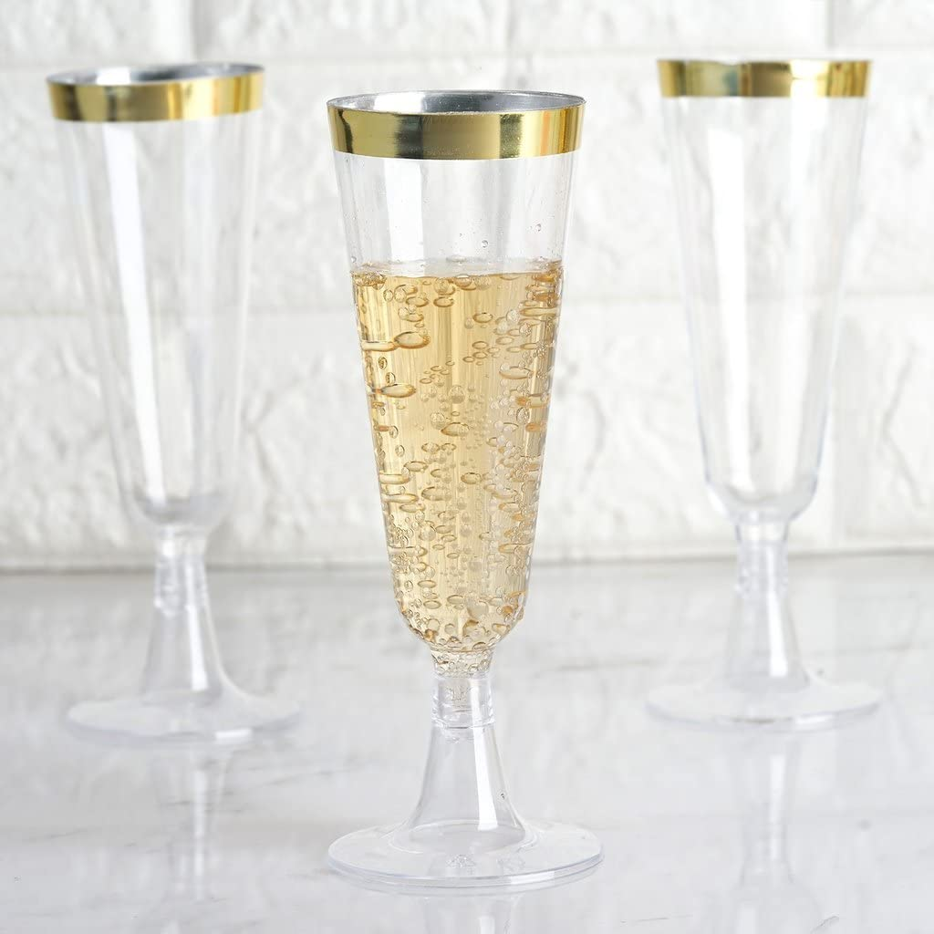 Plastic Transparent w Gold Glitter Champagne Flutes Party Christmas Wedding 2P