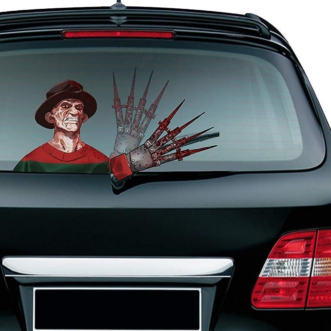 2 MIYSNEIRN Halloween Horror Clown Waving Wiper Decal for Rear Window 3D Cartoon Festive Car Sticker Reusable Waterproof Vinyl Decal for Vehicle Rear Wipers Decoration