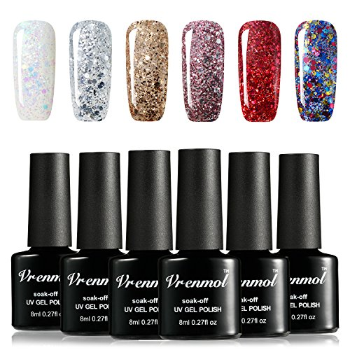 Vrenmol Gel Nail Polish Set 6pcs Soak Off UV LED Diamond Nail Lacquer Glitter Nail Art Manicure Kit 8ml