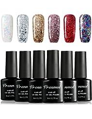 Vrenmol Gel Nail Polish Set 6pcs Soak Off UV LED Diamond...