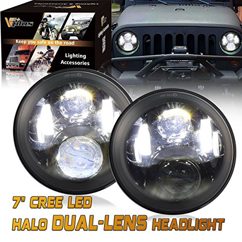 2003 Jeep Wrangler Rubicon (2 Pcs Vplus 7 Inch Led Headlights Hi /Lo Beam 14000LM Daymaker Led H6014 H6024 Headlight Bulbs Jeep Wrangler Headlights Assembly Tj Cj For 1997-2018 Yj Jk JKU Unlimited Rubicon)