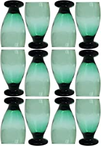 Set of 12 Glass Water Goblets (Green)