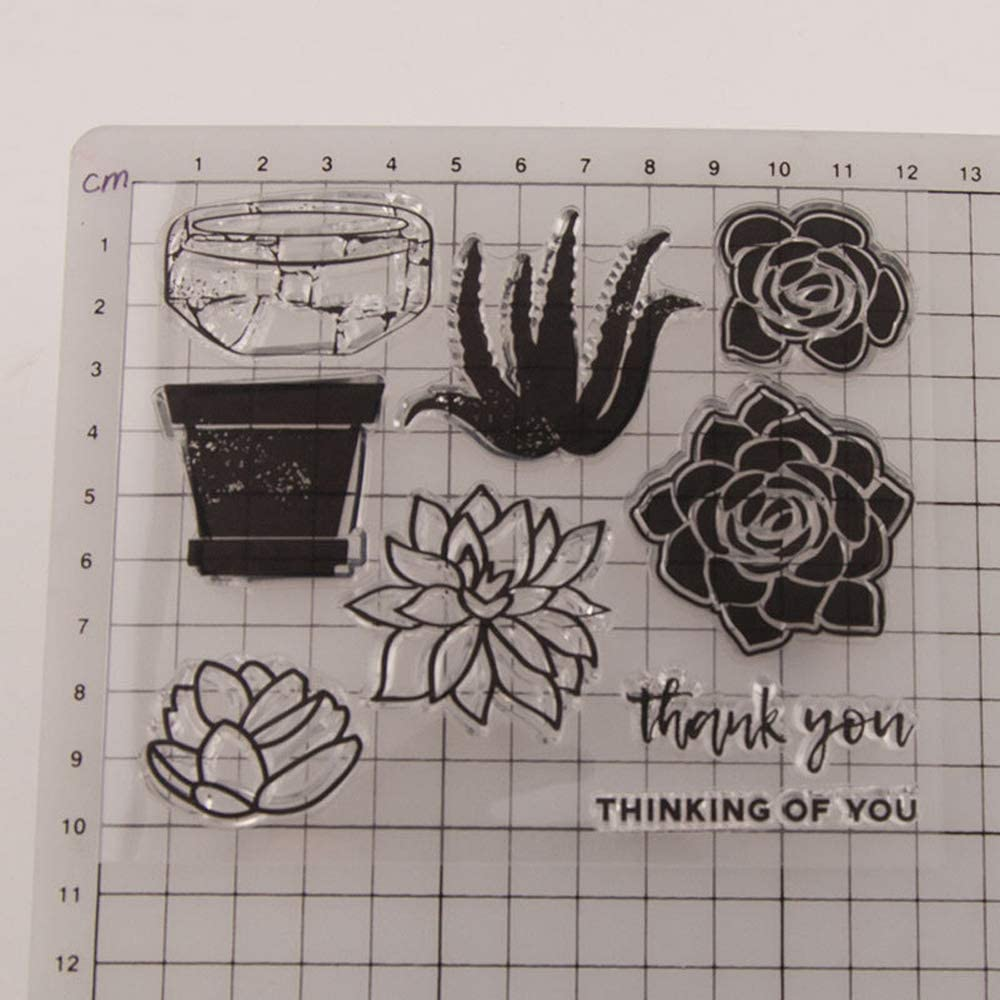 6.1 by 6.1 Inches Flower Wreath Leaves Thank You Letters Love Rubber Stamps for Scrapbooking Card Making Thanksgiving Clear Stamps