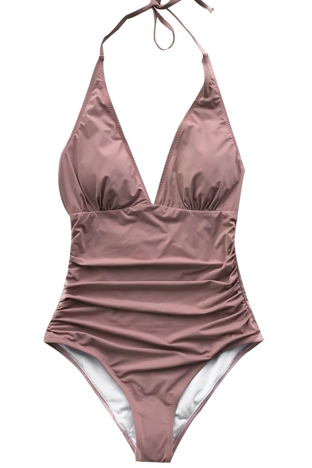 CUPSHE Women's Shirring Design High Waisted Halter One-Piece Swimsuit Small Pink