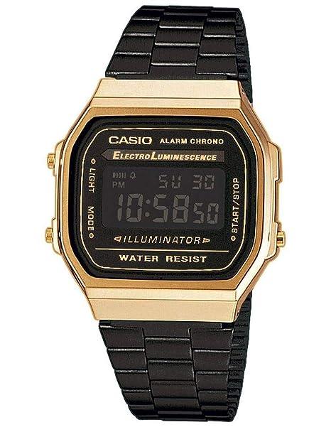 e1c92f422d22 Casio Reloj Digital para Unisex de Cuarzo con Correa en Acero Inoxidable  A168WEGB-1BEF  Amazon.es  Relojes