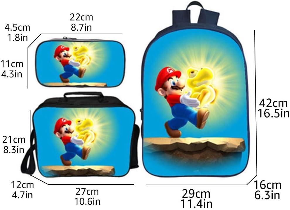 Super Mario Bags for Boys Teen Girls Kids Super Mario Bros 3D Printed School Backpack Lunch Bags Pencil Case 3 Piece Set Men Travel Rucksacks Women Laptop Backpacks Adult Shoulder Bag 019