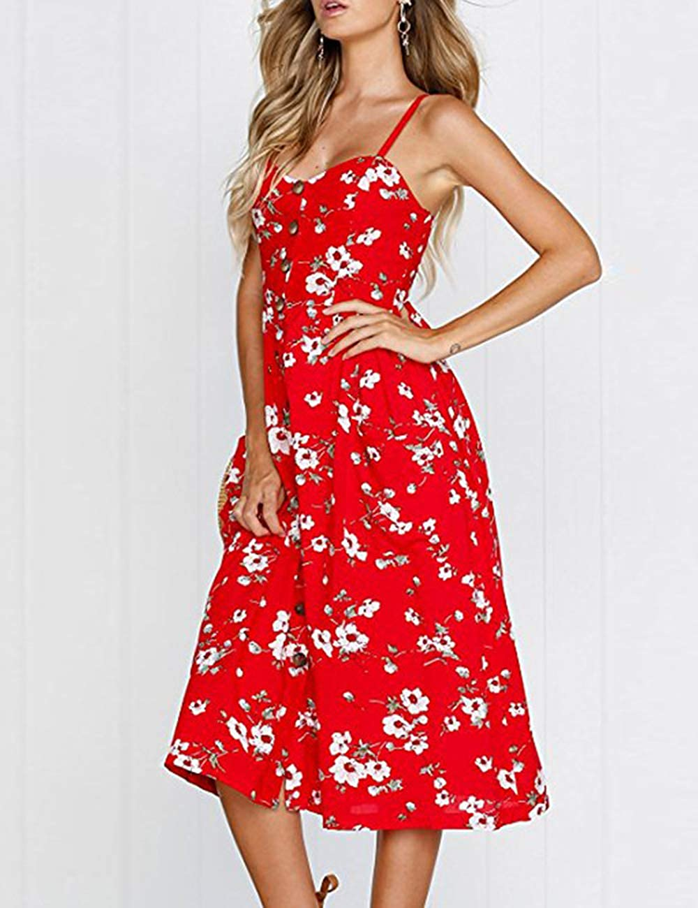 Women Plus Size Sundresses Red Casual Dress with Pockets Red Print