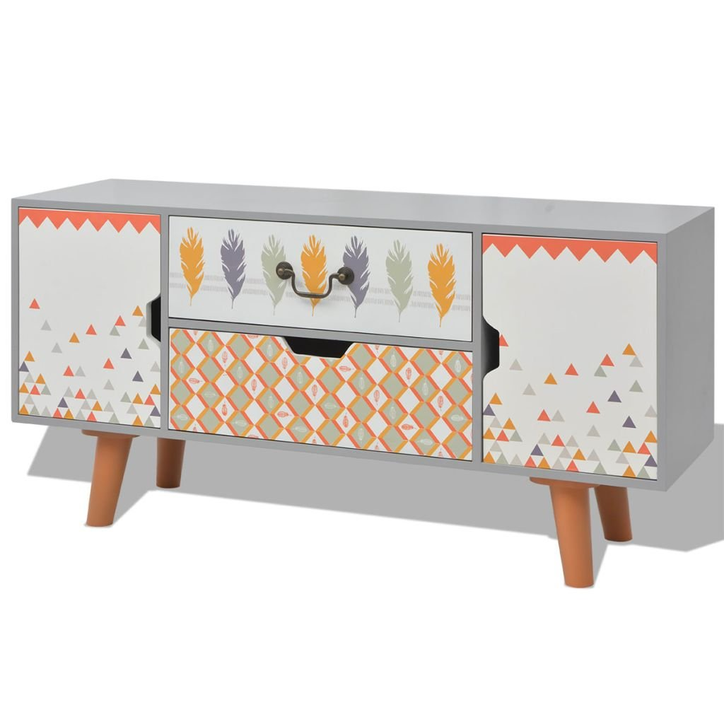 VidaXL, Buffet Console, mobile contenitore per salotto, grigio, 100 x 30 x 50 cm